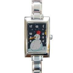Snowman Rectangle Italian Charm Watch by Valentinaart