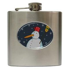 Snowman Hip Flask (6 Oz) by Valentinaart