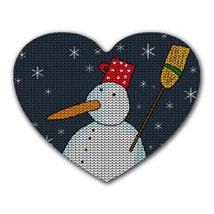 Snowman Heart Mousepads by Valentinaart