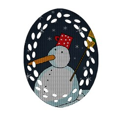 Snowman Oval Filigree Ornament (two Sides) by Valentinaart