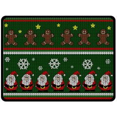 Ugly Christmas Sweater Fleece Blanket (large)  by Valentinaart
