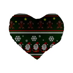 Ugly Christmas Sweater Standard 16  Premium Heart Shape Cushions by Valentinaart