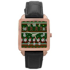 Ugly Christmas Sweater Rose Gold Leather Watch  by Valentinaart
