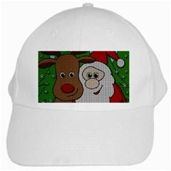 Santa And Rudolph Selfie  White Cap by Valentinaart