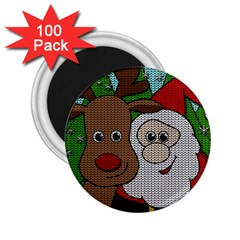 Santa And Rudolph Selfie  2 25  Magnets (100 Pack)  by Valentinaart