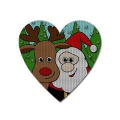 Santa And Rudolph Selfie  Heart Magnet by Valentinaart