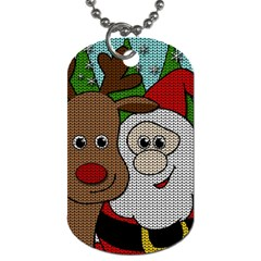 Santa And Rudolph Selfie  Dog Tag (two Sides) by Valentinaart