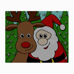Santa And Rudolph Selfie  Small Glasses Cloth (2 Side) by Valentinaart