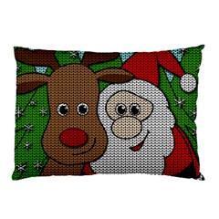 Santa And Rudolph Selfie  Pillow Case by Valentinaart