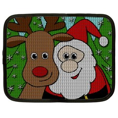 Santa And Rudolph Selfie  Netbook Case (xxl)  by Valentinaart