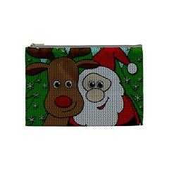 Santa And Rudolph Selfie  Cosmetic Bag (medium)  by Valentinaart