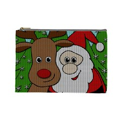 Santa And Rudolph Selfie  Cosmetic Bag (large)  by Valentinaart