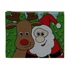 Santa And Rudolph Selfie  Cosmetic Bag (xl) by Valentinaart