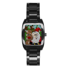 Santa And Rudolph Selfie  Stainless Steel Barrel Watch by Valentinaart