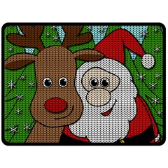 Santa And Rudolph Selfie  Double Sided Fleece Blanket (large)  by Valentinaart