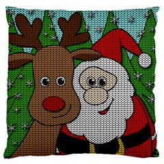 Santa And Rudolph Selfie  Large Flano Cushion Case (two Sides) by Valentinaart