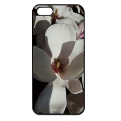Magnolia Floral Flower Pink White Apple Iphone 5 Seamless Case (black) by yoursparklingshop