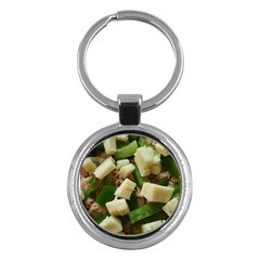 Cheese And Peppers Green Yellow Funny Design Key Chains (round)  by yoursparklingshop