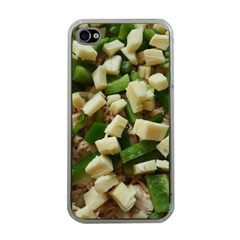 Cheese And Peppers Green Yellow Funny Design Apple Iphone 4 Case (clear) by yoursparklingshop