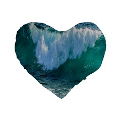 Awesome Wave Ocean Photography Standard 16  Premium Flano Heart Shape Cushions by yoursparklingshop