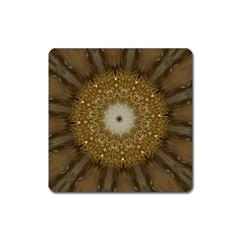 Elegant Festive Golden Brown Kaleidoscope Flower Design Square Magnet by yoursparklingshop