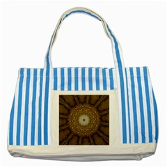 Elegant Festive Golden Brown Kaleidoscope Flower Design Striped Blue Tote Bag by yoursparklingshop