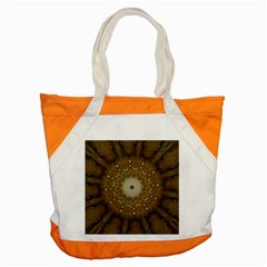 Elegant Festive Golden Brown Kaleidoscope Flower Design Accent Tote Bag by yoursparklingshop