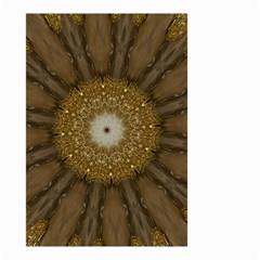 Elegant Festive Golden Brown Kaleidoscope Flower Design Small Garden Flag (two Sides) by yoursparklingshop