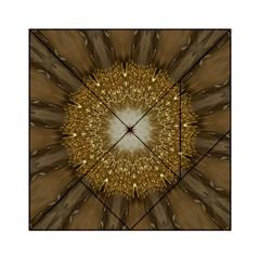 Elegant Festive Golden Brown Kaleidoscope Flower Design Acrylic Tangram Puzzle (6  X 6 ) by yoursparklingshop