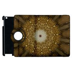 Elegant Festive Golden Brown Kaleidoscope Flower Design Apple Ipad 3/4 Flip 360 Case by yoursparklingshop