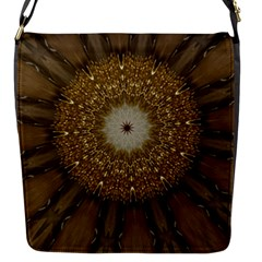 Elegant Festive Golden Brown Kaleidoscope Flower Design Flap Messenger Bag (s) by yoursparklingshop