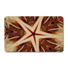 Spaghetti Italian Pasta Kaleidoscope Funny Food Star Design Magnet (rectangular) by yoursparklingshop