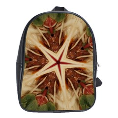 Spaghetti Italian Pasta Kaleidoscope Funny Food Star Design School Bag (xl) by yoursparklingshop