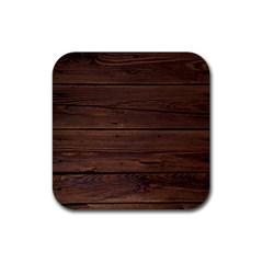 Rustic Dark Brown Wood Wooden Fence Background Elegant Rubber Coaster (square)  by yoursparklingshop