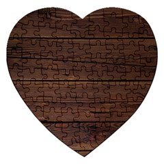 Rustic Dark Brown Wood Wooden Fence Background Elegant Jigsaw Puzzle (heart) by yoursparklingshop