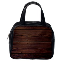 Rustic Dark Brown Wood Wooden Fence Background Elegant Classic Handbags (one Side) by yoursparklingshop