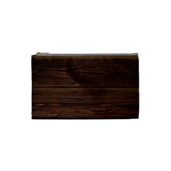 Rustic Dark Brown Wood Wooden Fence Background Elegant Cosmetic Bag (small)  by yoursparklingshop