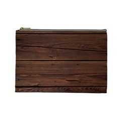 Rustic Dark Brown Wood Wooden Fence Background Elegant Cosmetic Bag (large)  by yoursparklingshop