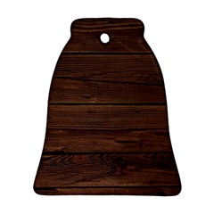 Rustic Dark Brown Wood Wooden Fence Background Elegant Bell Ornament (two Sides) by yoursparklingshop