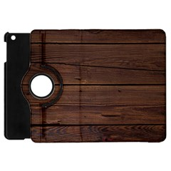 Rustic Dark Brown Wood Wooden Fence Background Elegant Apple Ipad Mini Flip 360 Case by yoursparklingshop