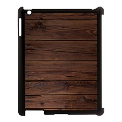 Rustic Dark Brown Wood Wooden Fence Background Elegant Apple Ipad 3/4 Case (black) by yoursparklingshop