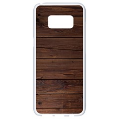 Rustic Dark Brown Wood Wooden Fence Background Elegant Samsung Galaxy S8 White Seamless Case by yoursparklingshop