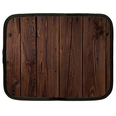 Rustic Dark Brown Wood Wooden Fence Background Elegant Natural Country Style Netbook Case (large) by yoursparklingshop