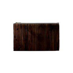 Rustic Dark Brown Wood Wooden Fence Background Elegant Natural Country Style Cosmetic Bag (small)  by yoursparklingshop