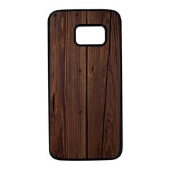 Rustic Dark Brown Wood Wooden Fence Background Elegant Natural Country Style Samsung Galaxy S7 Black Seamless Case by yoursparklingshop