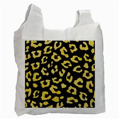 Skin5 Black Marble & Yellow Watercolor Recycle Bag (two Side)  by trendistuff