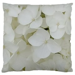 Hydrangea Flowers Blossom White Floral Elegant Bridal Chic Large Cushion Case (one Side) by yoursparklingshop