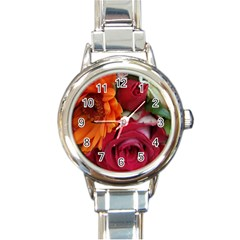 Floral Photography Orange Red Rose Daisy Elegant Flowers Bouquet Round Italian Charm Watch by yoursparklingshop