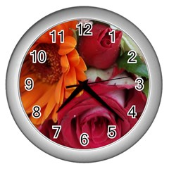 Floral Photography Orange Red Rose Daisy Elegant Flowers Bouquet Wall Clocks (silver)  by yoursparklingshop
