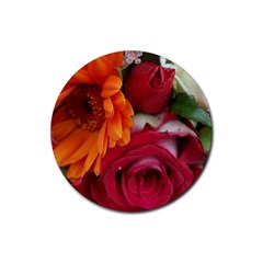 Floral Photography Orange Red Rose Daisy Elegant Flowers Bouquet Rubber Round Coaster (4 Pack)